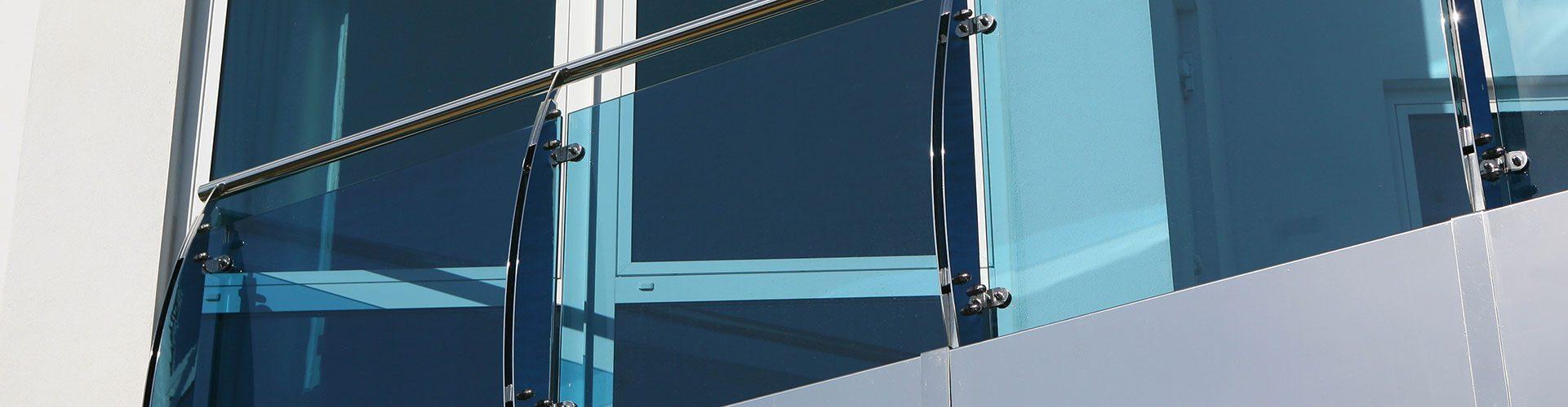 Blue glass balcony balustrade