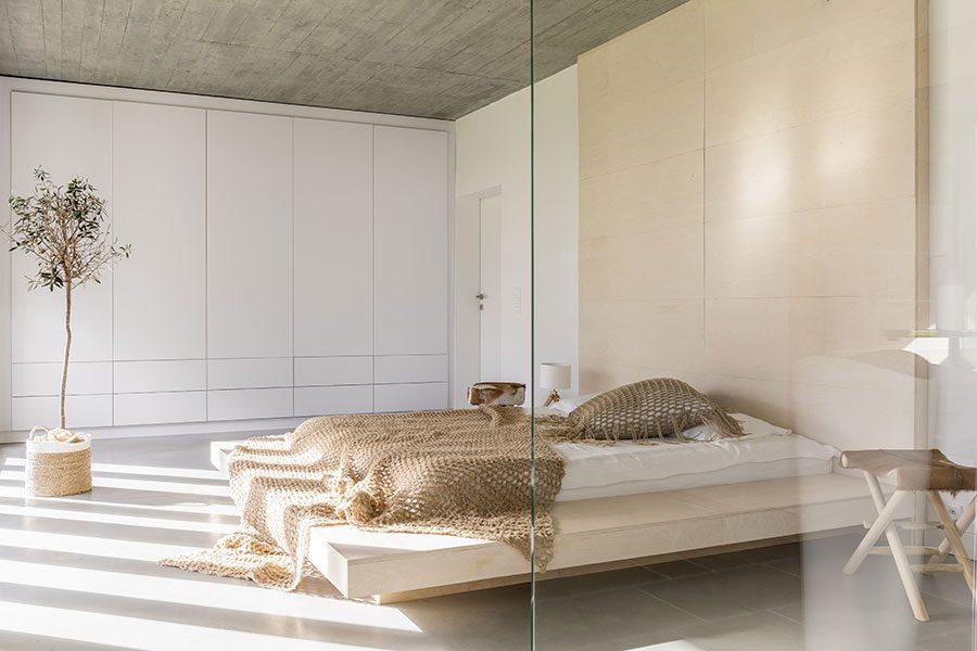 Bedroom glass room divider