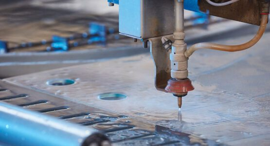 Water jet glass cutting at abc Glass Processing