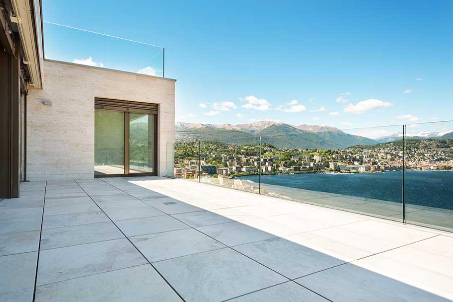 Frameless glass balcony provides uninterrupted views