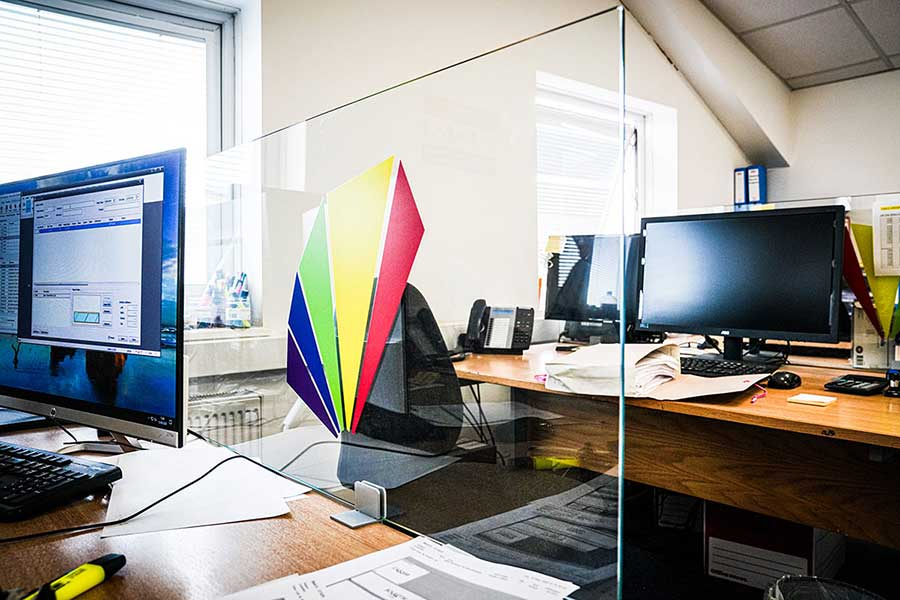 Desk mounted glass office covid safety screens by abc Glass Processing