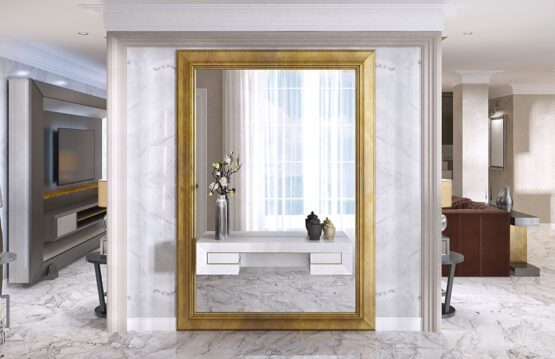 Large wall mirrors adding light to a corridor