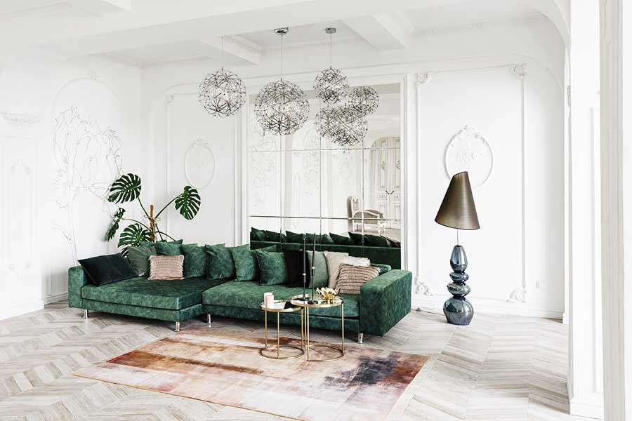 Large mirrored feature wall in a lounge
