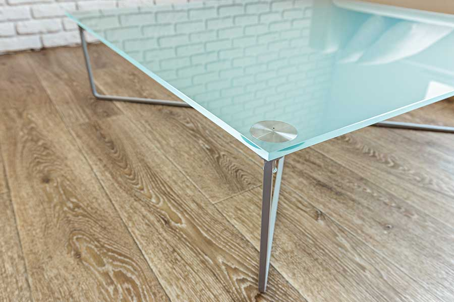 Made to measure frosted glass top for a coffee table